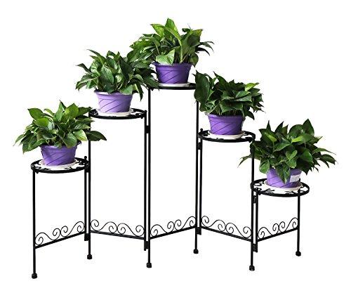 HLC- 5 Niveles Soporte para los bonsáis, Plantas, Flores, adecuados para Interior y Exterior, Nuevo Diseño!-Negro