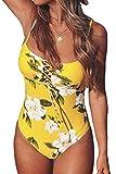 CUPSHE Bañador Mujer Estampado Floral Lace-up Traje de Baño Una Pieza, Amarillo,XS