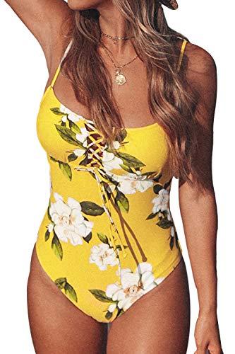 CUPSHE Damen Schnürung Badeanzug Eckiger Ausschnitt Blumenmuster Einteilige Bademode Swimsuit Sonnengelb M