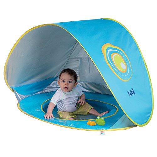 Multifunktionales Schwimmbad von Ludi | aus Stoff mit UV 50 Schutz - von Geburt an - Zelt bestehend aus Schwimmbad mit Netz, Markise und Handtuch | Strandzelt