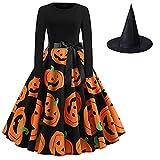 Vestido de Calabaza de Halloween Vestido de Halloween de Manga Larga Vintage para Mujer, Vestido de Fiesta Delgado de Cintura Alta con Cuello Redondo