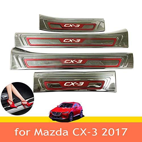 Protector de umbral de puerta de coche, para Mazda CX-3 2017, protector de parachoques de puerta de coche cromado Protector de arañazos de umbral de puerta Adhesivos Accesorios de estilo
