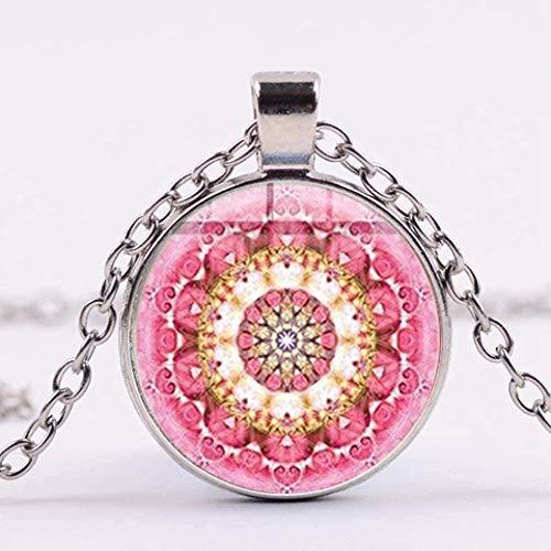 Zaaqio Collar de Flor de la Vida, Estilo Bohemio, Patrones de Arte, Collar con Colgante de cabujón de Cristal, joyería de la India