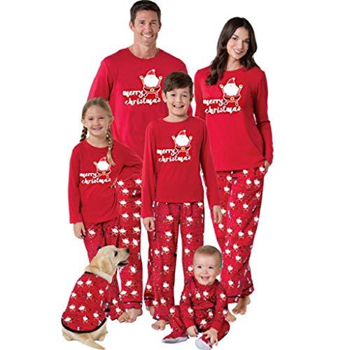 VICGREY  Pigiami Famiglia Coordinati Manica Lunga Babbo Natale Pigiama Top Pantaloni Biancheria da Notte Pajama Set per Bambini di Famiglia papà Mamma