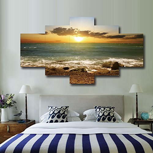Yatsen Bridge Sunset Beach Stone Seascape Posters and Prints Modern Landscape Painting Pictures Wall Art for Living Room Home Decor Gallery-Wrapped Canvas Art 5 Piece Set Framed (60''W x 32''H)