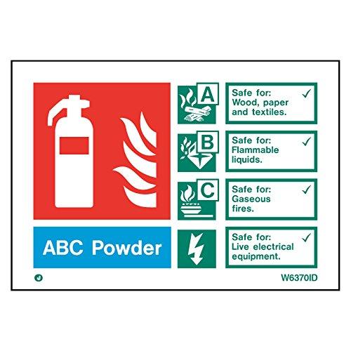 wit stijf PVC ABC poeder brandblusser veiligheidsbord