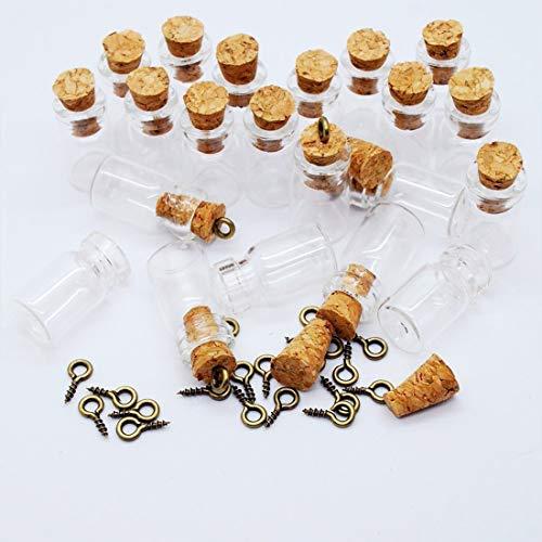 Botellas de cristal transparente extra de 0,5 ml con tapón de corcho, botellas de vidrio para decoración, artes y manualidades, proyectos, regalos de fiesta para hacer joyas, 50 unidades