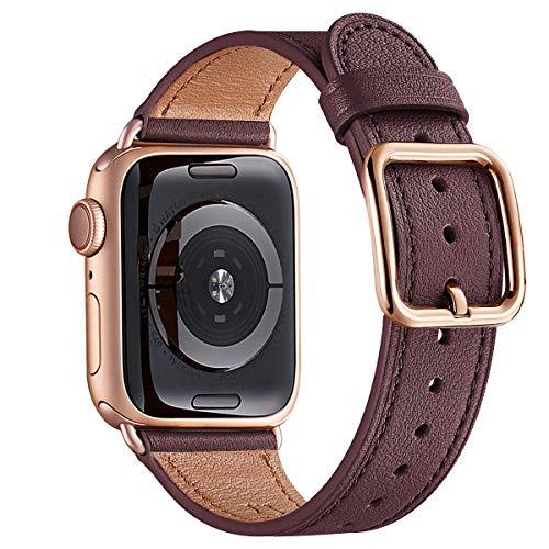 MNBVCXZ Armbänder Kompatibel mit Apple Watch Armband 38 mm 40 mm 42 mm 44 mm,Top Grain Lederband Ersatzarmband für iWatch Serie 6 5 4 3 2 1,SE,Spezieller Entwurf(38mm 40mm,Wein rot&Roségold)