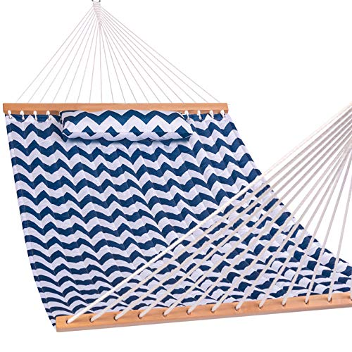 Lazy Daze Hammocks 55' Double Quilted Fabric Hammock with Spreader Bars and...
