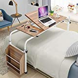 Over Bed Table Computer Laptop Table, Mobile Adjustable Over Bed with Wheels, Portable Convenient Reading...