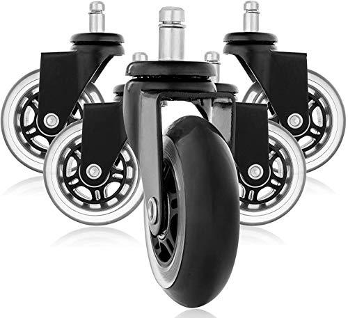 Rollerblade Style Gummi Ersatz Räder, Bürostuhl Caster Wheels für Ihren Schreibtisch Stuhl, Ruhige Rollläden Perfekt für Hartholz Fußböden, Teppich, Laminat und Fliesen - Set von 5