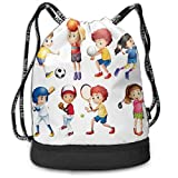 No Brand Drawstring Backpack String Bag Casual, D3777 Children Playing Soccer Baseball Basketball Volleyball Golf Tennis Hobby Theme