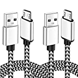 Micro USB Cable 6Ft Fast Charging Cord for Kindle Fire HD HDX Tablets 7 8 Samsung Galaxy S6 S7 Edge J3 J7 Prime Crown Extra Long Nylon Phone Cable White 2Pack