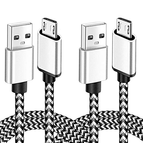 Micro USB Cable 6Ft Fast Charging Cord for Kindle Fire HD HDX Tablets 7 8 Samsung Galaxy S5 S6 S7 Edge J3 J7 Prime Crown Extra Long Nylon Phone Cables White 2Pack