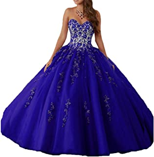 Women's Sweetheart Embroidery Quinceanera Dresses Appliques Sweet 16 Ball Gown
