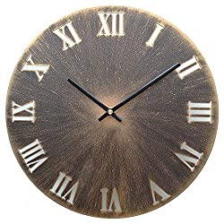 Yazhben Home Retro Metal Industrial Wall Clock,12 Inch Round Roman Numerals Easy to Read Battery Operated Non-Ticking Small for Living Room (Roman Numerals Gold, 12 Inch)