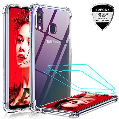 LeYi per Cover Samsung Galaxy A40 Custodia con Vetro Temperato [2 Pack], Nuovo Silicone Trasparente Hard PC Bumper TPU Smartphone Telefono Case per Custodie Cellulare Samsung Galaxy A40 Crystal Clear
