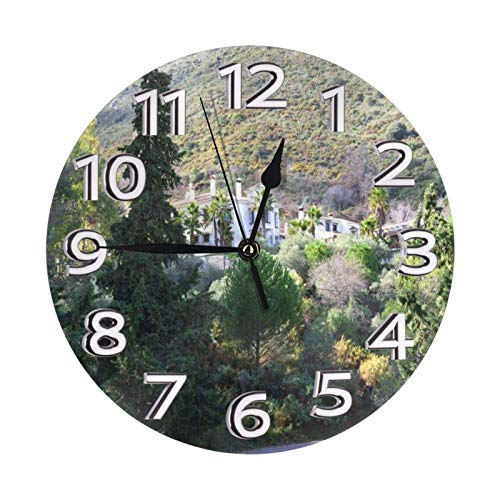 GOSMAO Reloj de Pared,Pino del Bosque, Reloj de Escritorio Decoración del hogar para Cocina Sala de Estar Dormitorio Oficina