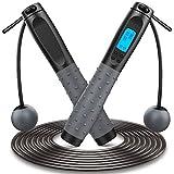 Cuerda para Saltar, Comba Crossfit Digital Contador 2 Modos Sin Enredos con Rodamientos de Bolas de 360° Mango Ponderado de Non-slip Espuma Suave, 3M Longitud Ajustable para Fitness Ejercicio Físico