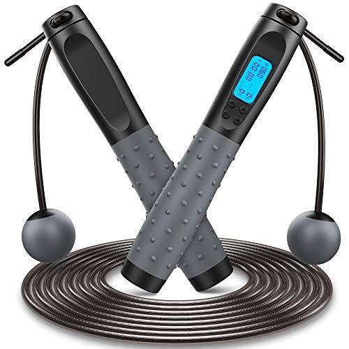 Springseil, Speed Rope Fitness mit Digital Zähler, 360° Kugellager Cord &Cordless Modus, Länge Einstellbar 3M, Anti-Rutsch Griffe Stahl Seil mit PVC Ummantelung Seilspringen Sport (Schwarz02)