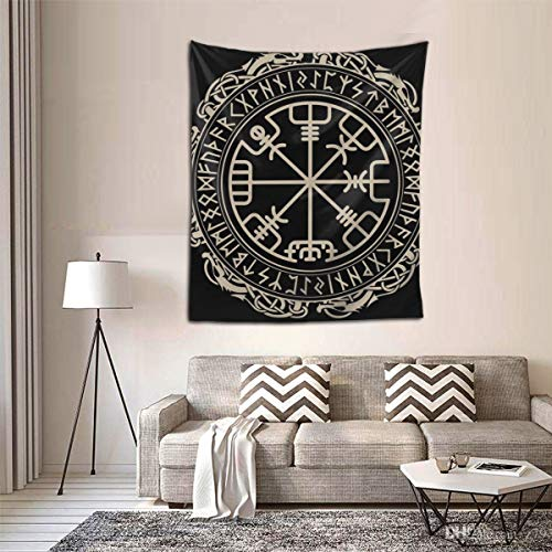 Hippie Hippy Bedding Tapestry Black Celtic Viking Design Magical Runic Compass Queen Tapestry Wall Hanging Throw Tapestry for Living Room Dorm Accessories Mandala Meditation Picnic Dorm Tapestry