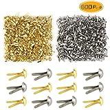 Yexpress 600 Pieces 4.5 x 8mm Gold & Silver Mini Brads Round Paper Fasteners Brass Pastel Metal Brads for Scrapbooking Crafts DIY Paper