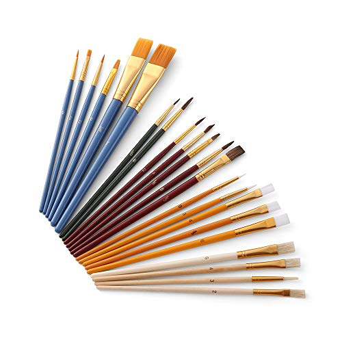 Ajcoflt Conjunto de pincéis de pintura de 25 peças, kit de iniciante, inclui pincéis de cabelo Taklon/cerdas/cavalo e pincéis de esponja para pintura de óleo acrílico aquarela guaches, materiais de artistas