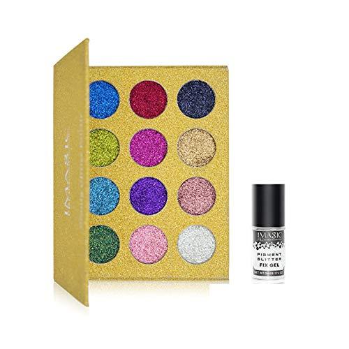 Professional Palette De Fard À Paupières - Glitter Simple Fard À Paupières, Maquillage Arc-En-Diamant Palette De Fard À Paupières Aimant,Ey2 fix gel