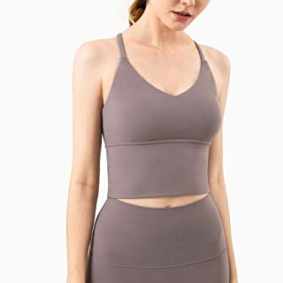 WZHZJ Yoga Vest Women Fitness Sports Underwear Gym Sport Workout Running Push-up Cross-Back Crop Bra Solid Color Fitness T...