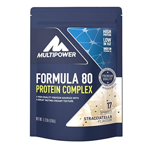Multipower Formula 80 Protein Complex – Mehrkomponenten Protein Pulver für den Muskelaufbau – Proteinpulver mit Casein für eine langfristige Versorgung – mit cremigem Stracciatella Geschmack – 510 g