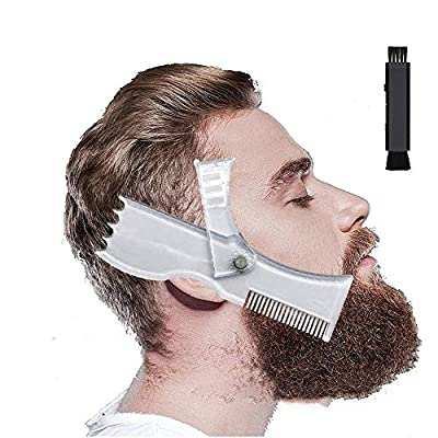 Beard Shaping Tool, Beard Template Stencil, Styling Template Tool and Beard Shaper Lineup, Grooming Kit for Men, Goatee, Mustache, Neck Line, Forehead Double-Ended Dusting and Cleaning Brush