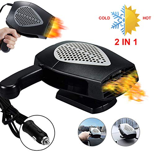 【New Upgrade】Portable Car Heater, Car 12V lighter heater 30S Fast Heating Defrost Defogger Cooling, Windscreen Fan,Auto Ceramic Heater Fan Plug in Cigarette Lighter Best Gift for Winter(black)