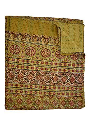 Vintage Beautiful Reversible Twin Size Quilt Sari Hand Block Print Throw
