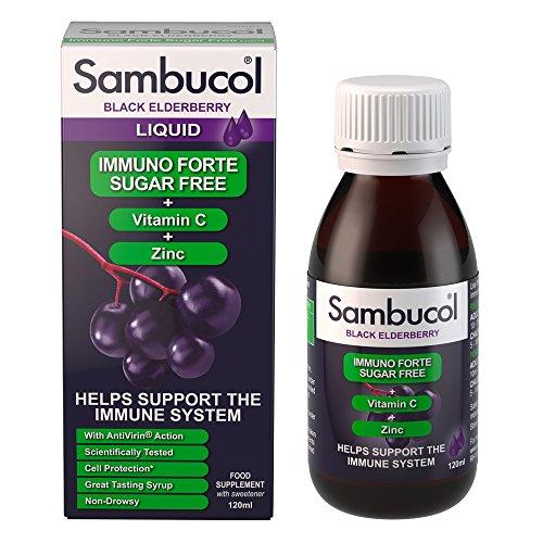 Sambucol Schwarze Holunderbeere Immuno Forte Zuckerfrei | Vitamin C | Zink | Unterstützung des Immunsystems | 120ml