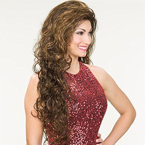 Souple Fashian Europe Et L'Amérique Longs Cheveux Bouclés Mesdames Or Brun Petite Perruque Set Haute Température Fil Peut être Teint Perruque fashion