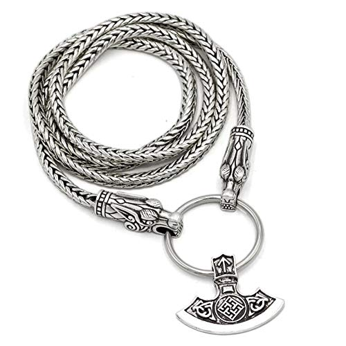 Serired Amuleto del Collar del Hacha Celta del Smbolo Misterioso Vikingo - Cadena de Plata de Cabeza de Dragn Antiguo, Joyera Colgante de Hacha Pesada de La Mitologa Nrdica para Hombre,70CM