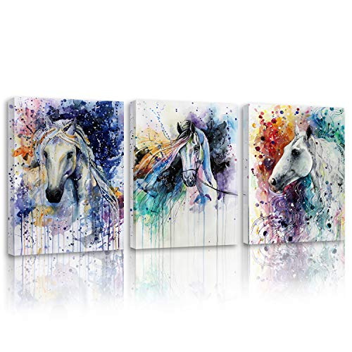 Britimes Canvas Wall Art for Bedroom Living Room Art Horse Watercolor Painting Canvas Prints Artwork Wall Decor12x16 inch/piece, 3 Pieces Modern Frameless Painting Ready to Hang Office Home Decorations