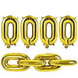 Lohoee 30Pieces 16 inch Foil Gold Chain Balloons for 80s 90s Hip Hop Retro Theme Birthdays Weddings Graduations Party for Adults(Golden)