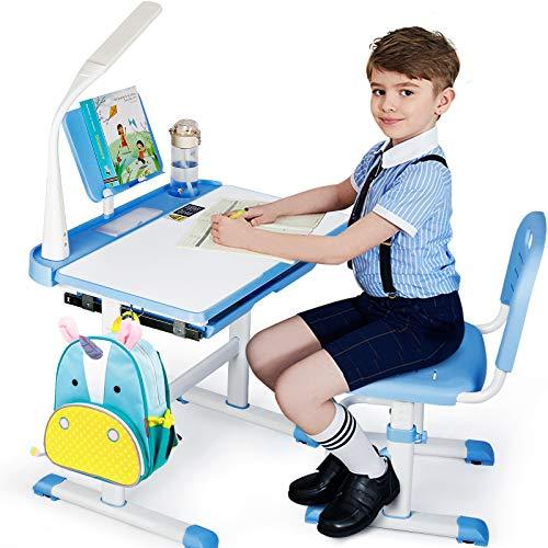 SIMBR Kids Desk and Chair Set, Height Adjustable Kid Desk Chair, Childs Desk w/LED Light School Student Writing Desk w/Tilt Desktop, Drawer, Bookshelf,2 Metal Hook, Cup Holder (Blue)