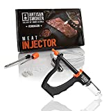 Artisan Smoker Meat Injector Kit - Meat Injector Gun with BBQ Marinade Injector Syringe, Stainless Steel Needles, Siphon, Extra O-Rings - Smoker or Grill Flavor Injector for Turkey, Pork, Brisket