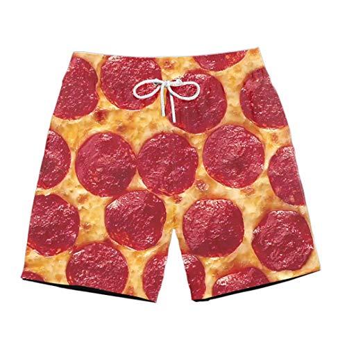Pantalones Cortos Casuales con Estampado 3D de Pizza de Queso y jamón para Hombre, Pantalones Cortos de Cintura elástica Transpirables de Malla Colorida de Verano con Tocino de Cerdo Divertido 4 L