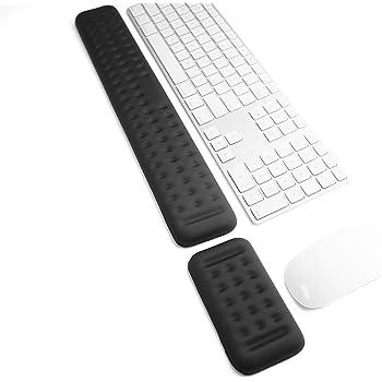 キーボードとリストレスト付きマウスパッドがゲームの休憩でも手首を支えます。人間工学に基づいた低反発ウレタンのリストレストはパソコン、ノートパソコンで支えとなり、Macでのタイピングに適し、腕の痛みの緩和や修復をしてくれます(44cm+13cm ブラック)
