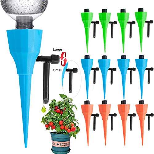 【2020 UPGRADE】Plant Self Watering Spike devices, Auto Waterer Spike, Automatic Irrigation System for Potted, Vacation Drip Plants System for Plants-Never Stopping Constant pressure Flow(12Pack)