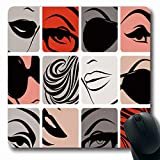 RWYZPAD Mousepads Haircut Face Parts French Wear Makeup Lips Sketch Design Scroll Oblong Shape 8.6 X 7.1 in Non-Slip...