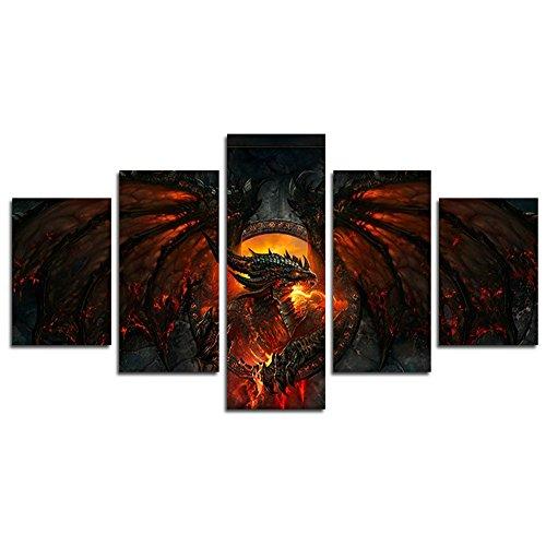 YspgArt66 Print Wall Art, 5Stück World of Warcraft Cataclysm Szene auf Leinwand Gemälde für Home Wohnzimmer Büro Trendig eingerichtet Dekoration Geschenk (ungerahmt)…