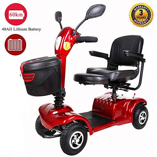 Scooter Electrico Para Adultos Minusvalidos 4 Ruedas Moto, Plegable Ligera Para Personas Mayores Vehículo De Movilidad Con Asiento Ajustable/luces Led/señal De Giro Patinete,Batería de Litio 40A