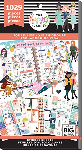 me & my BIG ideas PPSV-112-3048 The Happy Planner Sticker Value Pack-Squad Life, 1029/Pkg, Multi