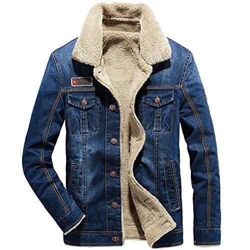 Flygo Jaqueta masculina de lã de ovelha com forro de lã estilo caminhoneiro, jaqueta jeans de inverno, 02 Azul claro, XL