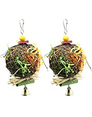 Zaleonline 2 Pack Bird Chewing Toys Foraging Shredder Toy Parrot Cage Shredder Toy Foraging Hanging Toy for Cockatiel Conure African Grey Amazon, Sepak Takraw Brushed Grass Raffia Bite the Ball