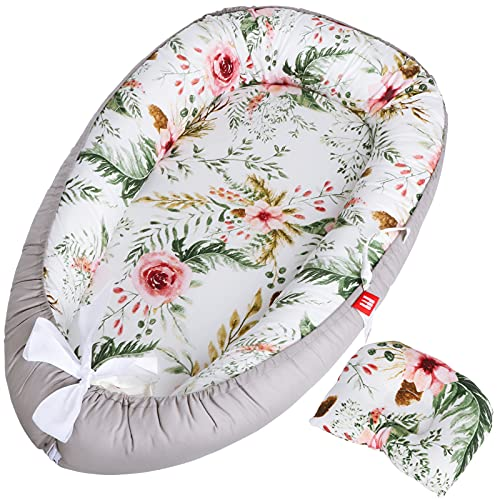 EYOUBE Baby Lounger Co Sleeping for Baby, Breathable Cotton Baby Nest with Pillow, Portable Baby Bed Newborn Lounger for 0-12 Months, Newborn Shower Gifts Essentials, (Flower)